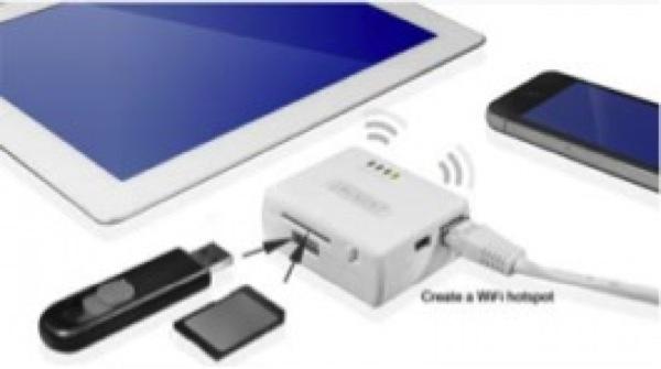 Il lettore WiFi da viaggio EM4610 permette di condividere i file contenuti su chiavetta USB o su scheda SD con i dispositivi Apple, tramite l'app per iOS gratuita scaricabile da iPad, iPod o iPhone