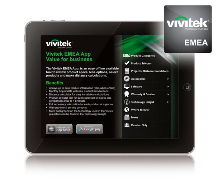 Vivitek EMEA App è ora disponibile in Apple App Store