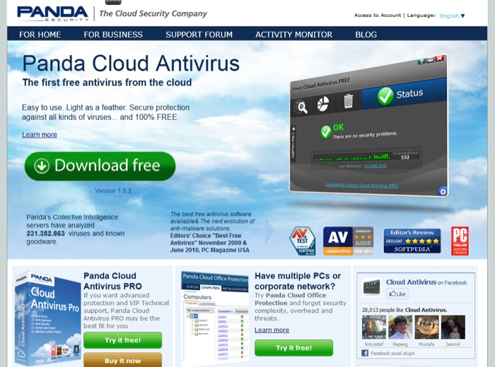 Panda Cloud Antivirus, l'unica soluzione gratuita giudicata Advanced+ da AV-Comparatives.org